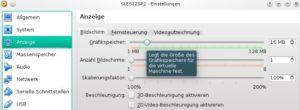 Virtualbox Grafikspeicher einstellen
